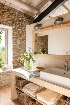 We love the stories of large-scale reconstructions because in such houses a special atmosphere usually reigns. Previously in this barn in Spain the owners ✌Pufikhomes - source of home inspiration Rustic Bathrooms, Stone Houses, Bathroom Interior Design, Bathroom Inspiration, Bathroom Ideas, Room Decor Bedroom, Design Case, Living Room Designs, Sweet Home
