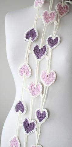 Heart crochet scarf for women, Heart shaped neck accessory, Heart lariat scarf, Multicolor Crochet lariat, Handmade scarf, heart crochet