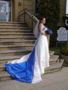 """Angie Nor Addin chose a beautiful blue & white wedding gown! She said: """"I just got married this weekend! The dress I ordered from OuterInner was great quality, customer service was excellent, and I received the dress within a month of ordering it. Ladies if you are looking for somewhere online to order your dress OUTERINNER is the place!!!"""" See her gown here: http://www.outerinner.com/sleeveless-strapless-empire-beading-wedding-gown-pd-05935-0.html"""