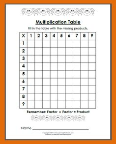 Free Spider Multiplication Table and Spider Crafts and Resources