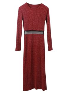 Shop Wine Red Knit Splice Mesh Bodycon Dress from choies.com .Free shipping Worldwide.$45.99