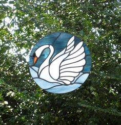 Peaceful Swan  Round Stained Glass Sun Catcher by Handcraftcottage, $42.00