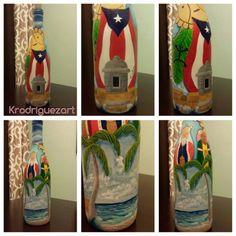Puerto Rico painted bottle  By Katherine Rodriguez  Acrylic