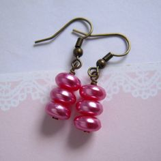 Rose Pink Pearl Bead Dangle Earrings by LittlePinkBox on Etsy, $0.20