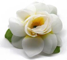 Hawaii Luau Party Dance Artificial Fabric Gardenia Flower Hair Clip White with Yellow Heart