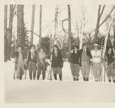 Group of Students Standing in the Snow with Snowshoes and Skis, ca. 1927 :: Archives & Special Collections Digital Images