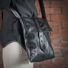 Benson Shoulder Case \\ made from #upcycled bike inner tubes. #madeinusa www.evenodd.us
