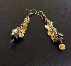 14k gold filled long spiral cascade earings with garnet, dangle, oriental, ethnic