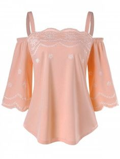 Show off your shoulders in this feminine top. Featuring a soft fabric with a cute embroidery floral pattern, cold shoulders and scalloped edge detail for a romantic touch. Style this top with skinny trousers or shorts and strappy sandals for a sophisticat Cold Shoulder Shirt, Shoulder Shirts, Beautiful Outfits, Cute Outfits, Beautiful Clothes, Plus Size Shorts, Matching Family Outfits, Casual Tops, Latest Fashion For Women