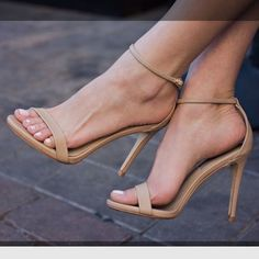 Nude Steve Madden ankle strap heels Stunning nude ankle strap heels. Can be worn so many different ways! Worn twice. Small scuffs on heels*see pic* Steve Madden Shoes Heels