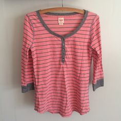 Grey and Pink Striped Henley Grey and Pink Striped Henley. Never worn from smoke free home. Size extra small from Mossimo Mossimo Supply Co Tops