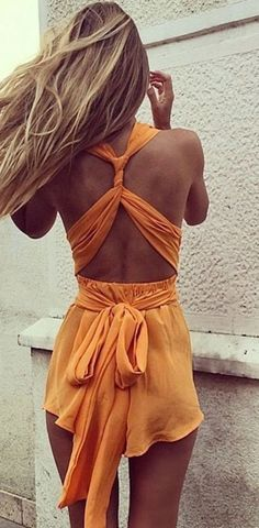 Yellow PlainTie Back Cross Back Irregular Plunging Neckline Short Jumpsuit