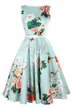 Vintage Jewel Neck Sleeveless Floral Print Belted A-Line Dress For Women