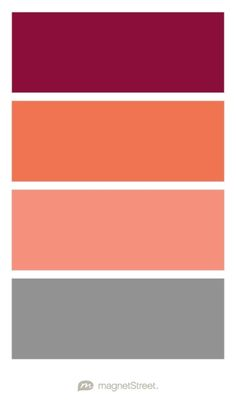 Burgundy, Custom Orange, Coral, and Classic Gray Wedding Color Palette - custom color palette created at MagnetStreet.com