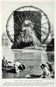 1933 Print Irrigation Agriculture Water Wheel Hama River Syria Middle East NGMA3 More