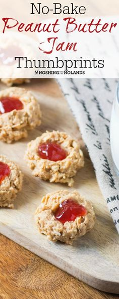 No-Bake Peanut Butter Jam Thumbprints by Noshing With The Nolands are so easy to make. A fun treat for young and old alike! Peanut Butter Thumbprint Cookies, Peanut Butter No Bake, Jam Cookies, Chocolate Chip Cookies, Cookie Recipes, Dessert Recipes, Eggless Recipes, Homemade Cookies, Great Desserts