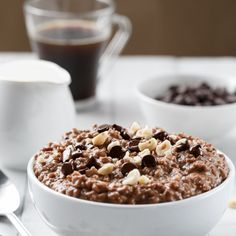 Nutella Hot Chocolate Oatmeal | http://cafedelites.com