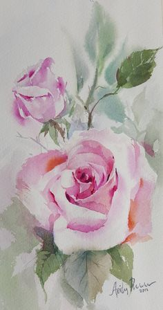 Watercolor Painting Techniques, Watercolour Painting, Watercolors, Watercolor Rose, Watercolor Cards, Watercolor Pictures, Flower Art, Art Drawings, Easy Rose