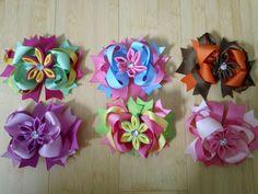 kanzashi flower embellished boutique bow by Babydobows on Etsy, $1.79