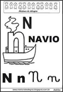 Alfabeto ilustrado letra N