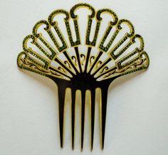 Antique Large Art Nouveau Deco Celluloid Hair Comb Green Faceted Rhinstones Mint | eBay