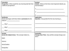 Here's a terrific set of higher-level thinking exit slips. There are many different ideas here!