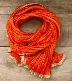 Orange Unisex Crinkled Chamundi Silk Stole