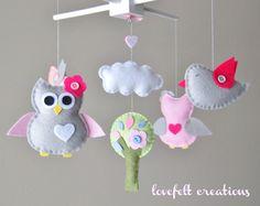 Bébé mobile bébé Owl mobile mobile chouette par lovefeltmobiles