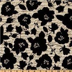 Michael Miller Venice Floral Script Black/Cream
