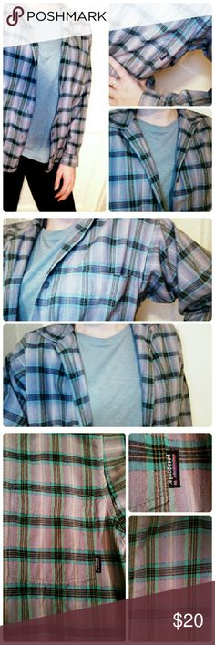 Patagonia Checkered Button Up 100% cotton. Older Patagonia but these shirts never go out of style. Faded lavender with blue, yellow, and teal. Good pre-loved condition. NO TRADES Patagonia Tops Button Down Shirts