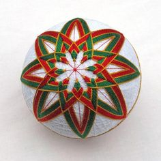 Christmas Ornament Temari Ball Japanese by PennyFabricArt on Zibbet