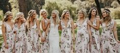 Summer bridesmaids - The Most Stunning Summer Bridesmaid Dresses Of 2018 – Summer bridesmaids Patterned Bridesmaid Dresses, Summer Bridesmaid Dresses, Wedding Bridesmaids, Wedding Gowns, Wedding Shoes, Floral Bridesmaids, Prom Dresses, Long Dresses, Formal Dresses