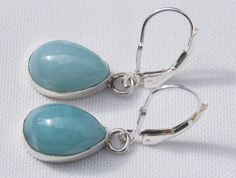 Original And Genuine Dominican AA Marbled Pear-Shaped Larimar Stone .925, Sterling Silver Pair Of Earrings Jewelry by DominicanArts on Etsy