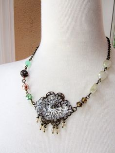 Bohemian Beaded Necklace with large white by BlueArtichokeDesigns, $36.00