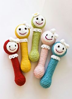 Rattles & Teething - Baby Rattle girls (in different colors) - a designer piece of NatalinkaDesign on DaWanda Crochet Baby Toys, Crochet Toys Patterns, Crochet For Kids, Stuffed Toys Patterns, Craft Patterns, Crochet Dolls, Baby Rattle, Handmade Toys, Crochet Projects