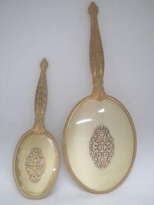 Vtg Hand Held Mirror Vanity Set Cherubs Angels 1930s 1940s