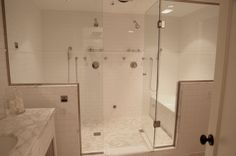 His and Her Shower Heads - Transitional