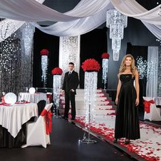 """Diamonds Are Forever Complete Prom Theme-Stunning, ballroom theme with shimmering """"diamond"""" accents and red rose petals. New for 2016 Prom!"""