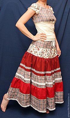 """Купить Юбка """"Пеппилотта"""" - рыжий, в клеточку, юбка, юбка в пол, юбка длинная, юбка летняя"""