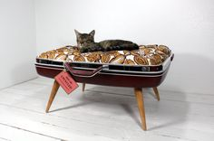 Upcycled Suitcase Pet Bed in Dark Red MCM