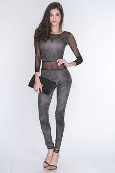Keep up with the hottest trends this season in this sexy stylin outfit. Add a daring touch to your wardrobe and add it to your collection! Youll love it the moment you try it on! Featuring round neck, sweetheart outline, long sleeves, mesh cutouts, and fitted. 95% Polyester 5% Spandex Made in USA