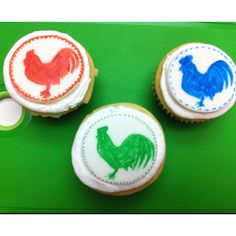 Rooster silhouette cupcakes.