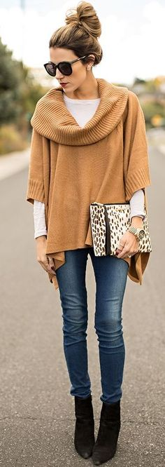 Camel Cowl Neck Sweater On White Fall Street Style Inspo by Hello Fashion