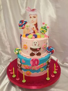Katy Perry cake - Time consuming cake. Buttercream cake with fondant decorations. NOt my design. Original made by annabanana. Mother sent me a pic of the cake she wanted replicated.