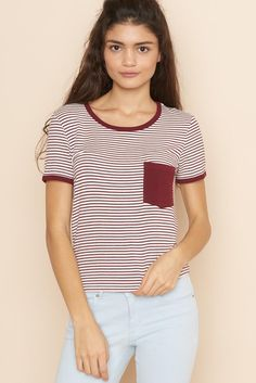 Striped Ringer Tee. Autumn Summer, Spring, Ringer Tee, Casual Looks, Fitness Models, Tees, Shirts, Style Me, Short Sleeves