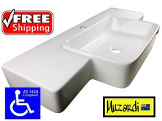 MUZARDI HAND BASIN CERAMIC DISABLED ACCESS AS1428.1 CARE WASH SINGLE WALL MOUNT