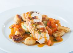 Russell Brown - Chicken breast ballotine with gnocchi, courgette ribbons and a tomato and olive saucesmall