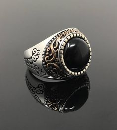 Stone Size 1.1 cm x 1.1 cm Stone Type Black Onyx Metal Type Sterling Silver Weight(Approx.) 10 grams Comes with free gift box. If you dont see your size, please ask. k44y