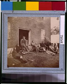 """Wounded soldiers from the battles in the """"Wilderness"""" at Fredericksburg, Va., May 20, 1864; photo by James Gardner at LOC; http://hdl.loc.gov/loc.pnp/cph.3g04582"""