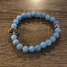 Aquamarine Beaded Bracelet for Courage, Strength, and Anti Anxiety Healing Bracelets, Crystal Bracelets, Aquamarine Bracelet, Aquamarine Blue, Crystals And Gemstones, Healing Crystals, Gemstone Jewelry, Beaded Jewelry, Blue Beads